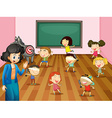 Students playing blind folded in classroom vector image vector image