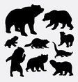 Bear and raccoon wild animal silhouette vector image