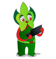 Alien and laptop vector image