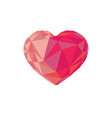 low poly red crystal bright heart vector image