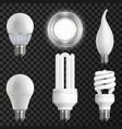 realistic light bulbs set vector image