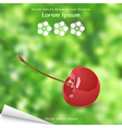 Sticky label with cherry and blurred background vector image vector image