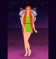 beautiful fairy pixie sky background vector image
