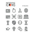collection of creative thin line icons electronic vector image