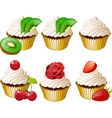 Cupcakes in golden cup set vector image