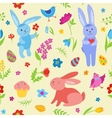 Cute Easter rabbits seamless pattern vector image