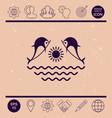 dolphins with sun sea - logo vector image