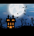 halloween background with castle bats and moon vector image