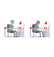 male and female nurse doing paperwork vector image
