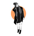 the girl in the black clothes on whire backgroun vector image