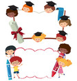 two border templates with school boys and girls vector image