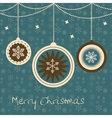 Christmas card with balls and snowflakes vector image vector image
