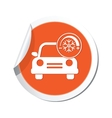 car with air conditioner icon orange label vector image vector image
