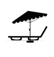 deckchair with umbrella relax in black vector image