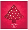 Retro red fir-tree with christmas toys vector image vector image