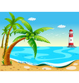 Coconut trees at the beach vector image