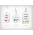 Hanging steel pricing tags with colorful prices vector image