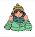 cute little girl in winter clothes hand drawn vector image