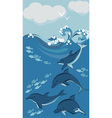 dolphins and fish vector image