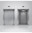 Open and closed chrome metal elevator doors vector image