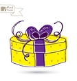Sketch gift box with bow vector image