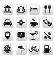 Travel tourism buttons set - vector image