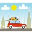 Vacation travel by car on sunset background vector image