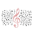 Music notes icons Red treble clef vector image vector image