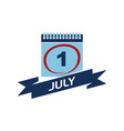 1 july calendar with ribbon vector image