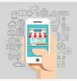 Shopping online business conceptual flat style vector image