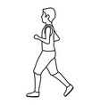 athletic man running character icon vector image
