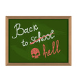 Back to school crossed out in hell The inscription vector image