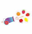 cannon with fruits vector image