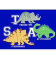 Dinosaurs letters Triceratops Apatosaurus and vector image