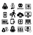 Hacker cyber attack cyber crime icons set vector image