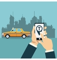 hand hold mobile taxi service online app city vector image