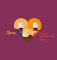Icon lovers holding hands and drinking wine vector image
