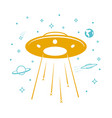 ufo icon in the starry sky vector image