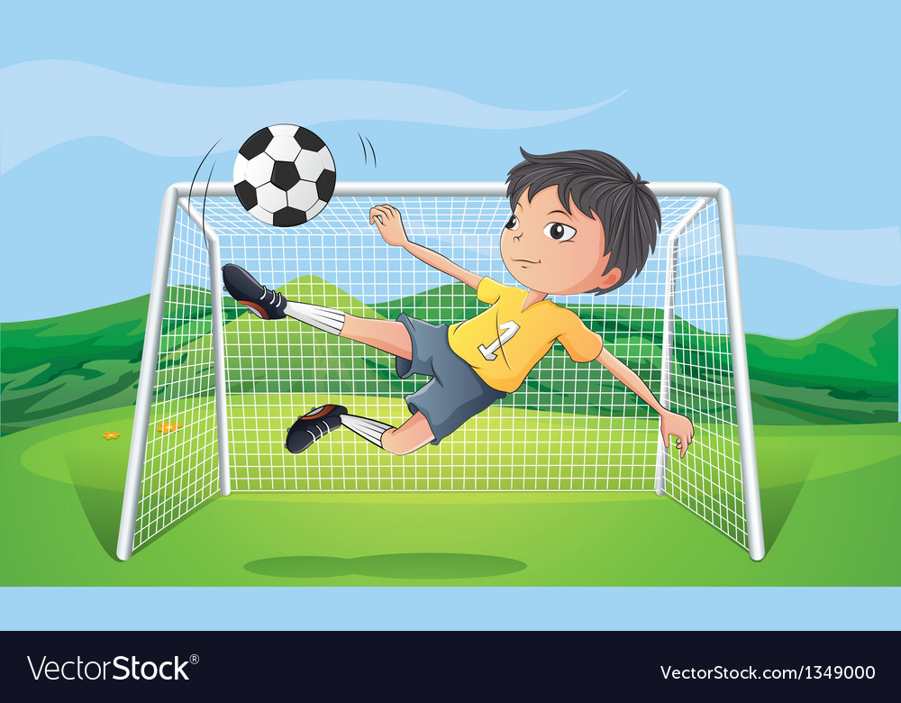 A young man playing football vector