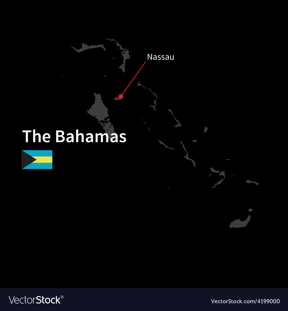 Detailed map of bahamas and capital city nassau vector