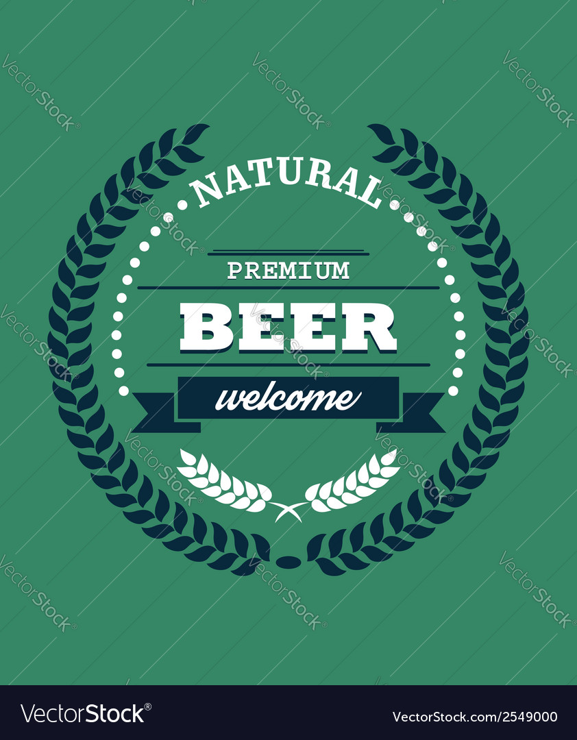 Natural premium beer label vector