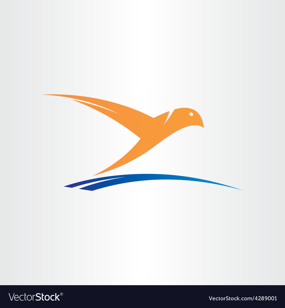 Bird flying over water abstract symbol vector
