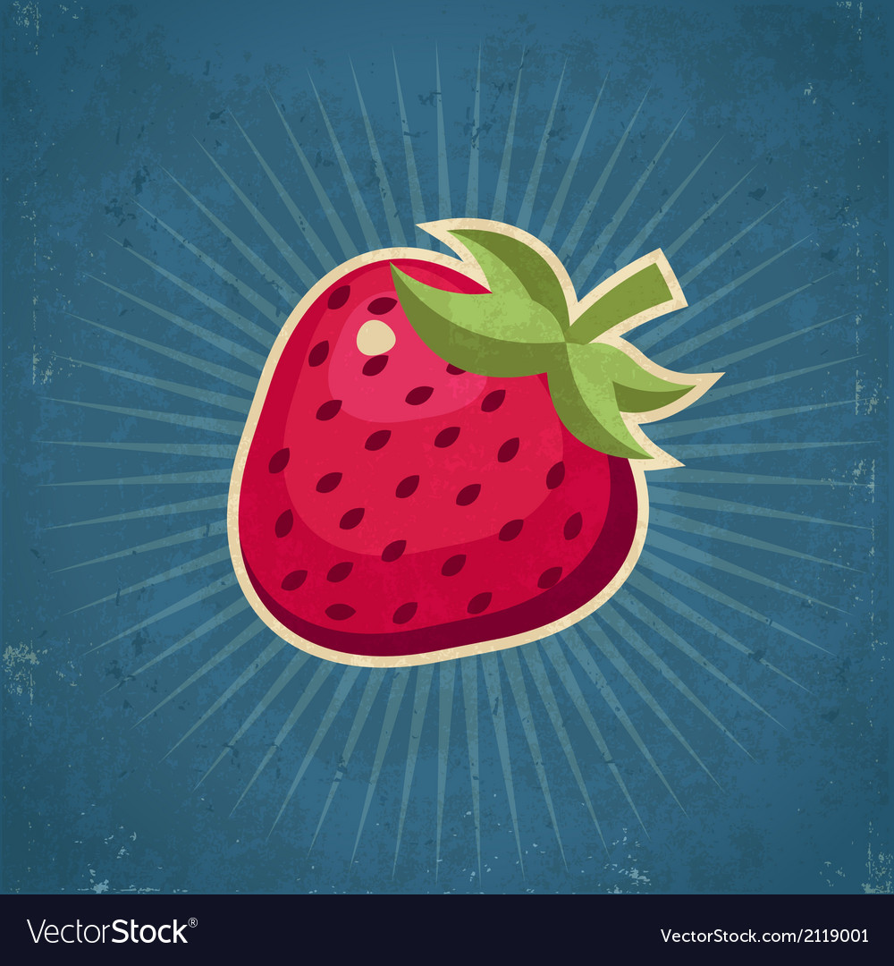 Retro strawberry vector