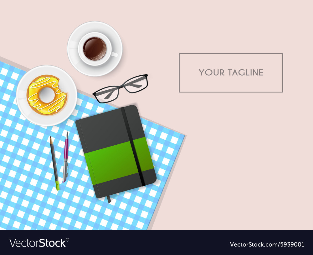 Scene with notebook and coffee vector