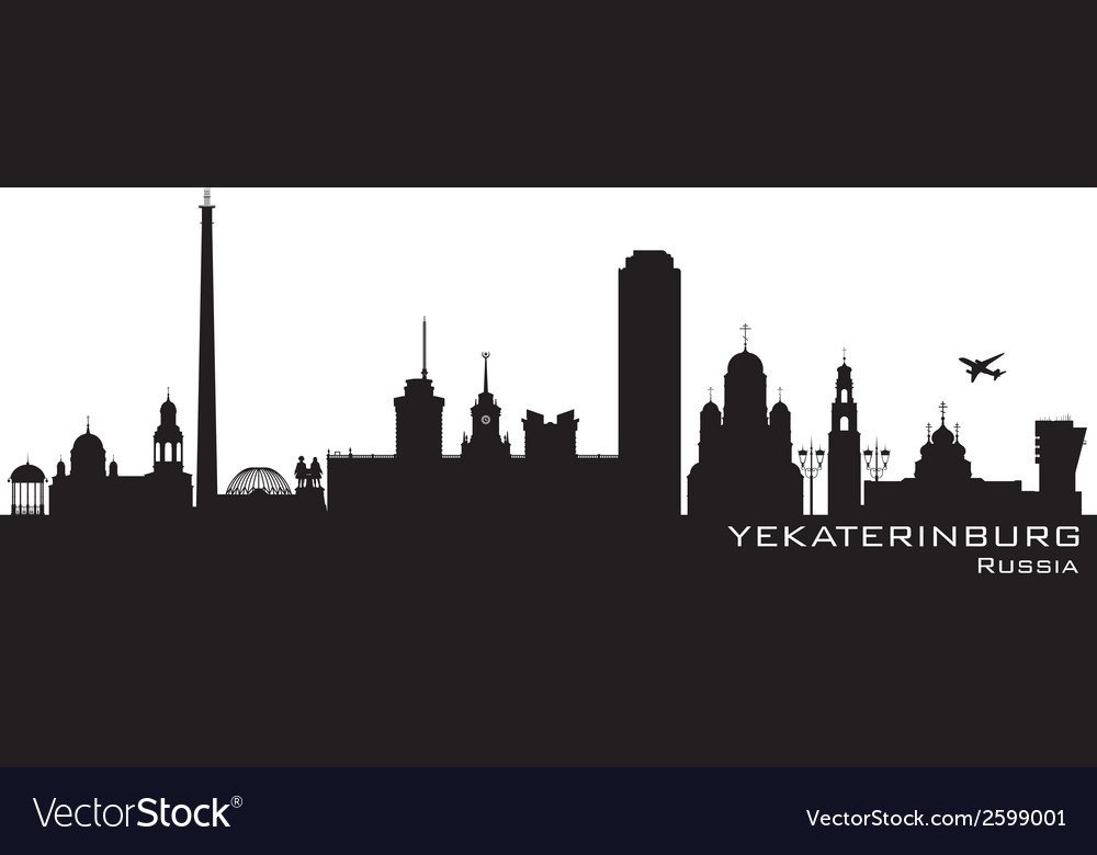 Yekaterinburg russia city skyline detailed silhoue vector