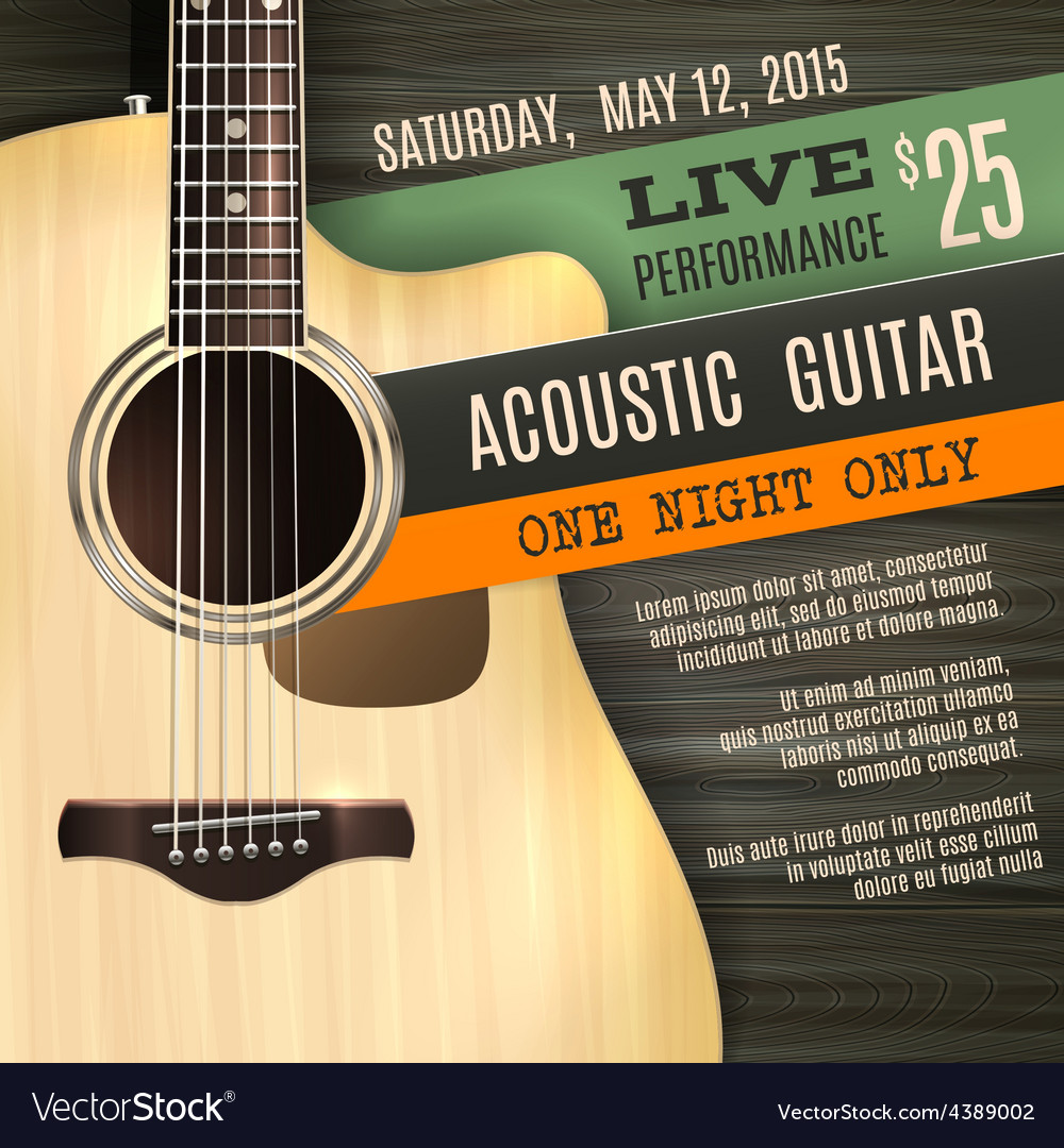 Acoustic guitar poster vector