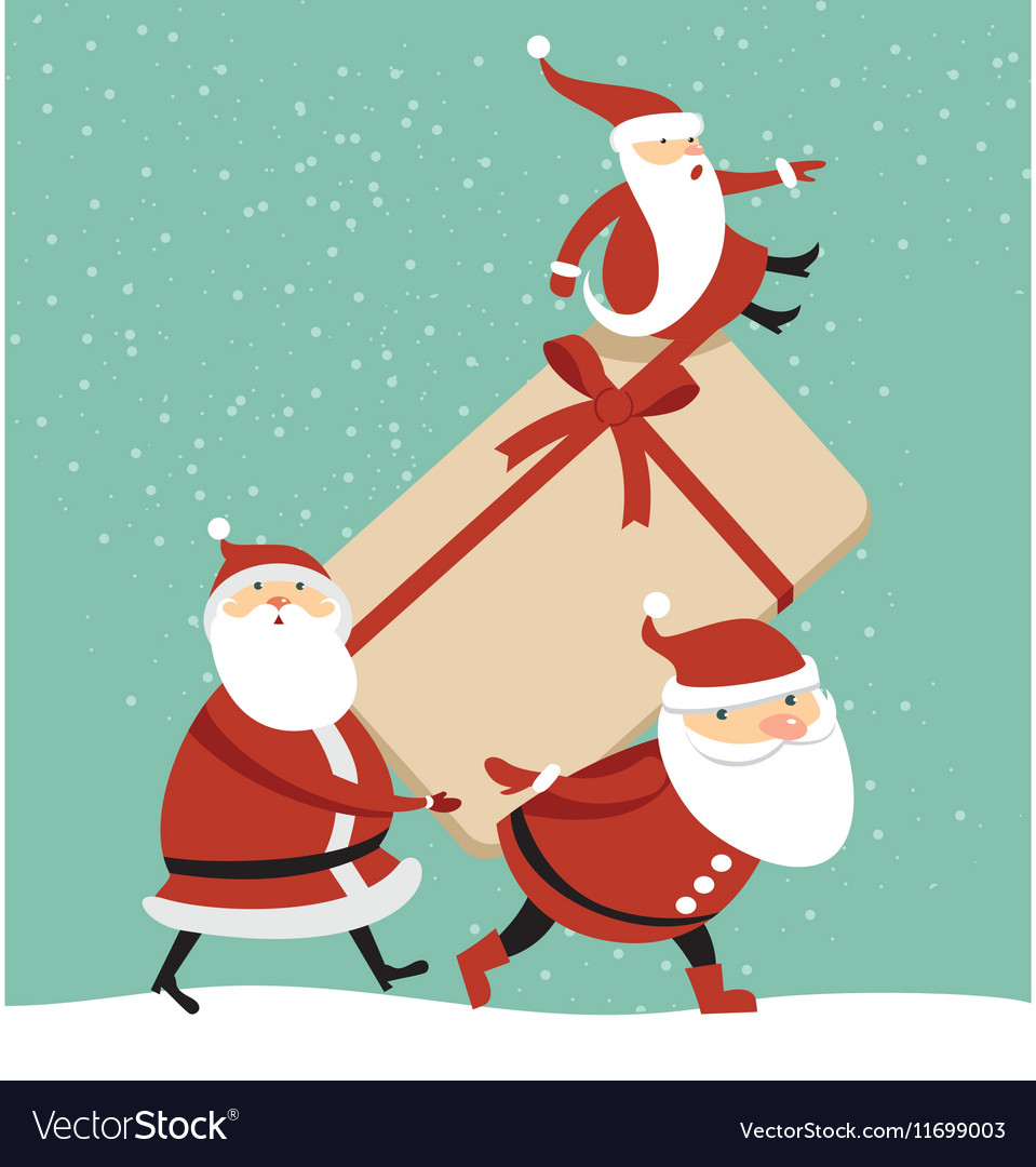 Three santas with huge gift box vector