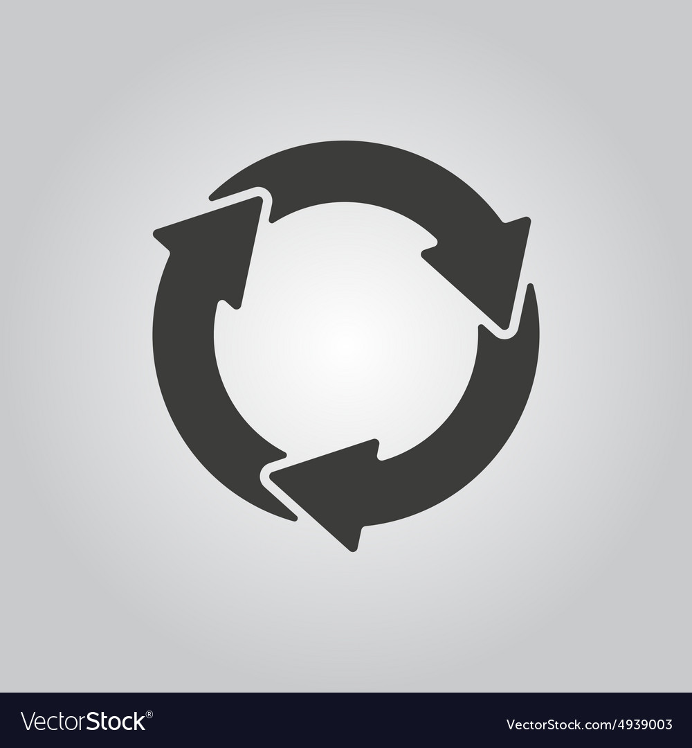 Waste processing icon bio symbol flat vector