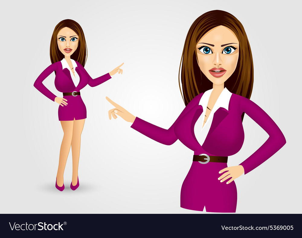 Businesswoman pointing vector