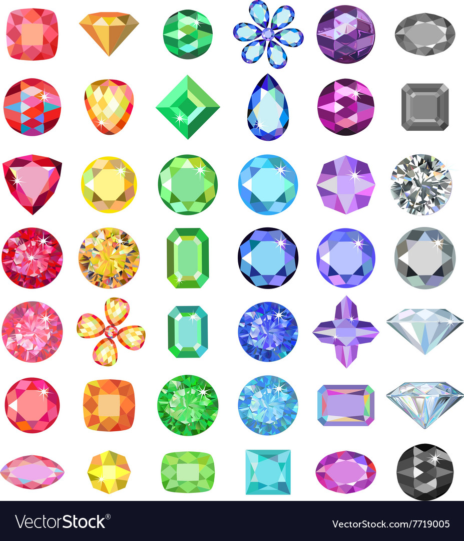 Colored gems cuts set vector